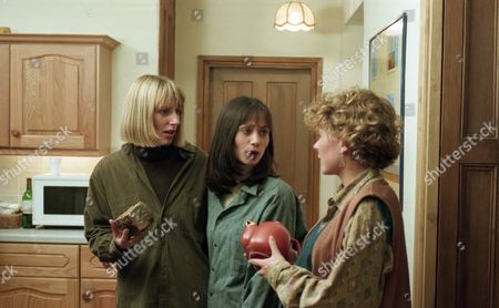 Rachel calls round to Smithy Cottage and tells Zoe all about the trouble between Chris and Kathy. She is about to go and look around the house when Scott and Roy throw a brick through the kitchen window, narrowly missing Rachel - With Rachel Hughes, as played by Glenda McKay ; Zoe Tate, as played by Leah Bracknell, and Emma Nightingale, as played by Rachel Ambler. (Ep 1967 - 25th April 1995).