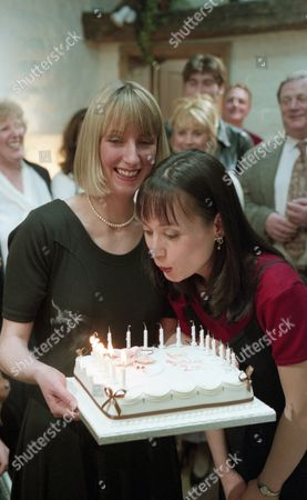 It is Zoe's birthday and housewarming party with Emma. Zoe is nervous about the party and wonders what everyone will think about her living with Emma. But the party is a sucess - With Zoe Tate, as played by Leah Bracknell, and Emma Nightingale, as played by Rachel Ambler. (Ep 1968 - 27th April 1995).