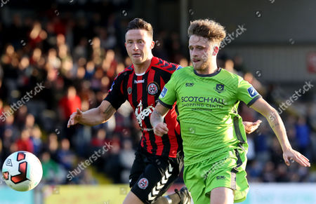 Bohemians vs Drogheda United. Bohs Rob Cornwall and Marc Griffin of Drogheda United