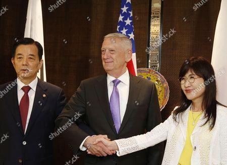 Stock Image of Tomomi Inada, James Mattis and Han Min-goo
