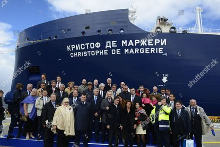 Official guests pose for a group photo at a christianing ceremony for a new Russian Arctic LNG (liquefied natural gas) tanker in St. Petersburg on the sidelines of the 2017 St. Petersburg International Economic Forum (SPIEF), in St. Petersburg, Russia, 03 June 2017. The tanker of the unique Arc7 class was built for the Yamal LNG project and would be named after Christophe de Margerie, the late CEO of French oil corporation Total S.A., who has died in an aircraft crash in Moscow on 20 October 2014.