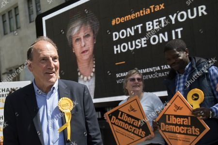 Liberal Democrat parliamentary candidate Simon Hughes joins supporters at the unveiling of their latest campaign poster about Conservative Party's social care policies, in London, Britain, 03 June 2017. British Prime Minister Theresa May has called a general election for 08 June 2017.