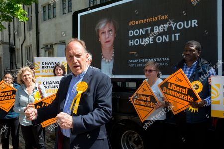 """Stock Image of Simon Hughes, Liberal Democrat candidate and former Southwark & Old Bermondsey MP reveals a new poster of Theresa May accompanied by the words: """"Don't bet your house on it"""" to criticise the so called """"dementia tax"""""""