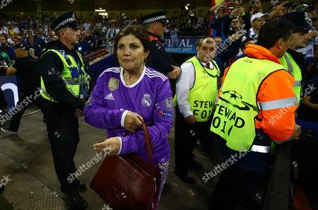 Maria Dolores dos Santos Aveiro the mother of Cristiano Ronaldo comes onto the pitch