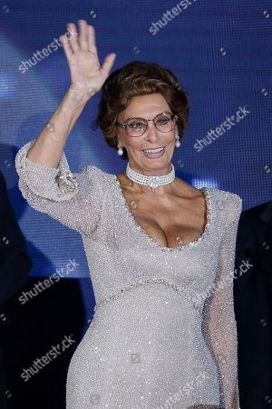 Italian actress Sofia Loren smiles during the christening ceremony of the MSC Meraviglia cruise ship in the Havre harbour, Normandy, France, . The cruise ship is the biggest built by MSC Cruises, the Swiss-based world's largest privately-owned cruise line and also the biggest ship to come into service in 2017