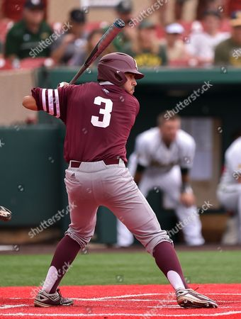 Texas A&M ph Jorge Gutierrez (3) during the NCAA regional baseball playoff game between Baylor and Texas A&M at Darryl & Lori Schroeder Park in Houston, Texas. A&M defeated Baylor 8-5