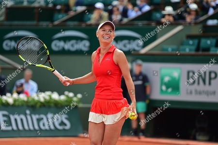 Caroline Wozniacki (DEN) delighted with her 2-1 win during the fourth round of the Roland Garros Tennis Open 2017 at Roland Garros Stadium, Paris