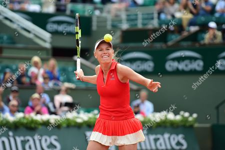 Caroline Wozniacki (DEN) hits the ball to the crowd after her fourth round win during the Roland Garros Tennis Open 2017 at Roland Garros Stadium, Paris