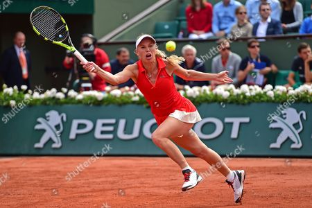Caroline Wozniacki (DEN) stretches out during the fourth round of the Roland Garros Tennis Open 2017 at Roland Garros Stadium, Paris