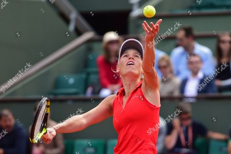 Caroline Wozniacki (DEN) serves during the fourth round of the Roland Garros Tennis Open 2017 at Roland Garros Stadium, Paris