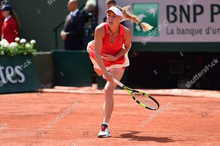 Caroline Wozniacki (DEN) in good form on her way to winning the first set during the fourth round of the Roland Garros Tennis Open 2017 at Roland Garros Stadium, Paris
