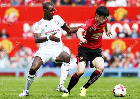 Ji-Sung Park of Man Utd 08 XI and Eric Abidal of Michael Carrick All Star XI