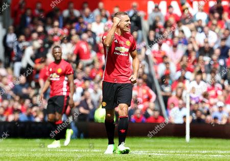 Nemanja Vidic of Man Utd 08 XI celebrates scoring his goal to make it 1-1