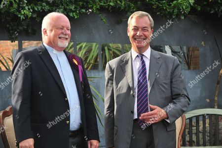 Nigel Farage with Rev Stuart Piper after the talk.  Nigel Farage speaking at a UKIP public meeting in Ramsgate,Kent at Townley Hall