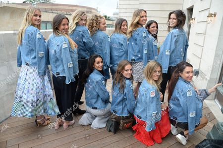 Stock Picture of Lady Kitty Spencer, Loanna Collyer, Portia Freeman, Ella Eyre, Jordan Collyer, Roxie Nafousi, Lady Violet Manners, Zoe Hardman and Lorna Andrews