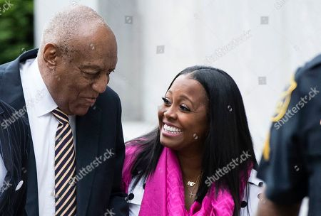 Bill Cosby arrives for his sexual assault trial with Keshia Knight Pulliam, right, at the Montgomery County Courthouse in Norristown, Pa