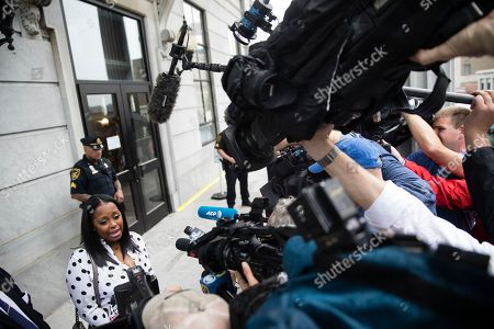 Actress Keshia Knight speaks with members of the media during Bill Cosby's sexual assault trial at the Montgomery County Courthouse in Norristown, Pa