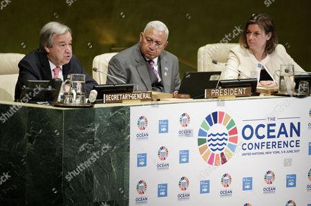 Antonio Guterres, Josaia Voreqe Bainimarama and Isabella Lovin