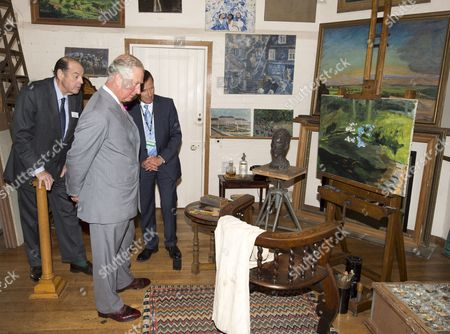 Prince Charles as President of The National Trust on a visit to Chartwell House, former country home of Sir Winston Churchill, which has undergone restoration. inside Sir Winston Churchills art studio