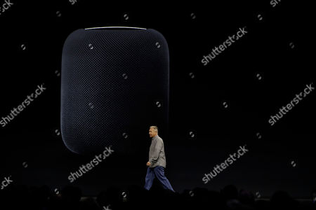 Philip W Schiller, Apple's Senior Vice President of Worldwide Marketing, introduces the HomePod speaker at the Apple Worldwide Developers Conference, in San Jose, Calif