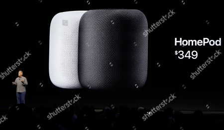 Philip W Schiller, Apple's Senior Vice President of Worldwide Marketing, introduces the HomePod speaker and its pricing during an announcement of new products at the Apple Worldwide Developers Conference, in San Jose, Calif