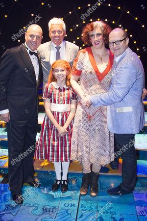 Alex Bourne (Daddy Warbucks), David Ian (Producer), Ruby Stokes (Annie), Miranda Hart (Miss Hannigan) and Michael Harrison (Producer) backstage