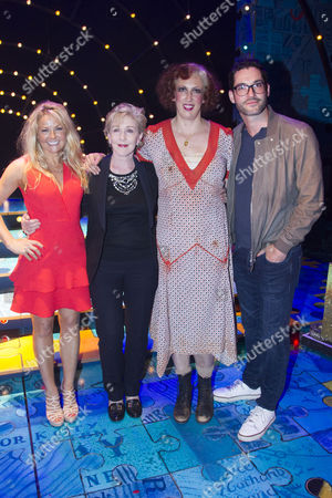Sarah Hadland, Patricia Hodge, Miranda Hart (Miss Hannigan) and Tom Ellis backstage