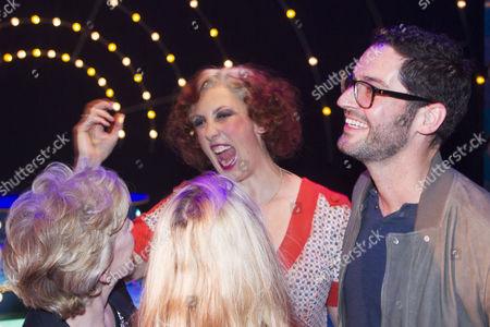 Patricia Hodge, Sarah Hadland, Miranda Hart (Miss Hannigan) and Tom Ellis backstage