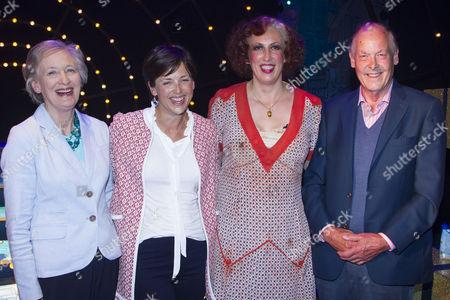 Diana Margaret Luce, Alice Hart, Miranda Hart (Miss Hannigan) and David Hart Dyke backstage
