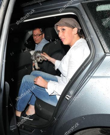 Miranda Hart with her pet dog