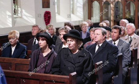 The day of Joe Sugden's funeral - With Annie Sugden, as played by Sheila Mercier, and Sarah Sugden, as played by Alyson Spiro. (Ep 1983 - 20th June 1995).