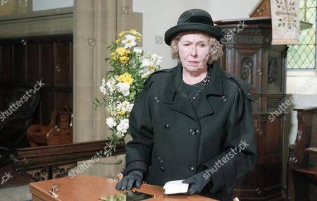 The day of Joe Sugden's funeral - With Annie Sugden, as played by Sheila Mercier. (Ep 1983 - 20th June 1995).