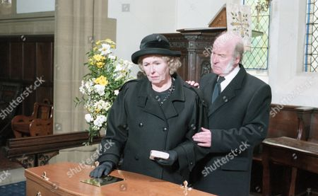 The day of Joe Sugden's funeral - With Annie Sugden, as played by Sheila Mercier, and Amos Brearly, as played by Ronald Magill. (Ep 1983 - 20th June 1995).
