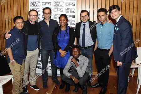 Stock Image of Christian Slater, Jad Abumrad and John Leguizamo with Ghetto Film School students