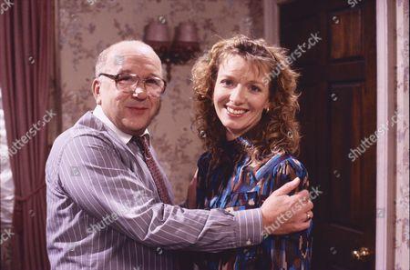 Roy Barraclough (as Alec Gilroy) and Kathy Jamieson (as Sandra Arden)
