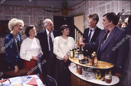 Elizabeth Dawn (as Vera Duckworth), Marlene Sidaway (as Brenda Taylor), John Jardine (as Randolph Taylor), Suzanne Hall (as Kimberley Taylor), Kevin Kennedy (as Curly Watts) and William Tarmey (as Jack Duckworth)