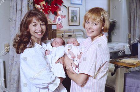 Helen Worth (as Gail Tilsley), Thomas Ormson (as David Platt), Emma Collinge (as Rosie Webster) and Sally Dynevor (as Sally Webster)