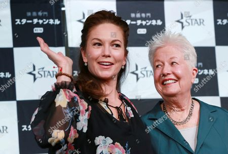 """Diane Lane, Eleanor Coppola Actress Diane Lane, left, and director Eleanor Coppola, pose for photographers during a press conference for their film """"Paris Can Wait"""", in Tokyo"""