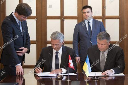 Didier Burkhalter, Pavlo Klimkin and Arsen Avakov
