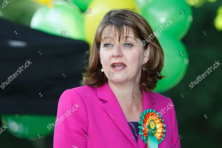 Stock Image of Plaid Cymru leader Leanne Wood holds a campaign rally in Treorchy, on the final day of the General Election campaign ahead of polls opening tomorrow (8th July 2017)