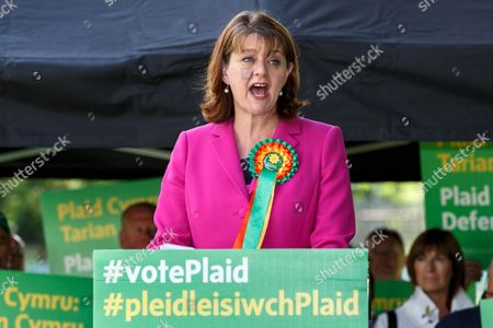 Plaid Cymru leader Leanne Wood holds a campaign rally in Treorchy, on the final day of the General Election campaign ahead of polls opening tomorrow (8th July 2017)