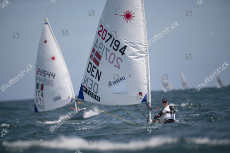 Stock Picture of Danish Anne-Marie Rindom competes in the Women's One Person Dinghy Radial event during the second day of the Nacra 17 class race during the Sailing World Cup finals in Santander, northern Spain, 07 June 2017.