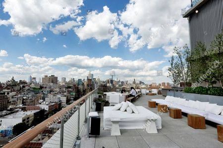 This photo shows the outdoor section of the Roof bar of the PUBLIC hotel, in New York. The new hotel on Manhattan's Lower East Side opens Wednesday, June 7. It is the latest project from Ian Schrager, who's known for introducing the concept of boutique hotels and as co-founder of the legendary disco Studio 54