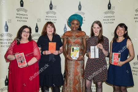 Bailey's Women Prize for Fiction 2017 shortlisted authors (L-R) Naomi Alderman, with her book 'The Power', Linda Grant, with her book 'The Dark Circle', Ayobami Adebayo, with her book 'Stay With Me', Gwendoline Riley, with her book 'First Love' and Madeleine Thien, with her book 'Do Not Say We Have Nothing'