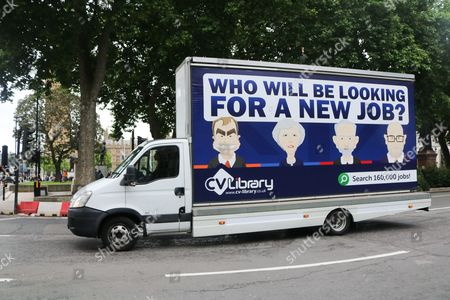 An advertising van showing caricatures of Tim Farron, Theresa May, Jeremy Corbyn and Paul Nuttall with the message who will be looking for a new job as Britain goes to the polls to elect a new government