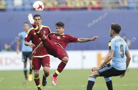 Ronaldo Lucena (C) of Venezuela in action during the semi-final match of the FIFA U-20 World Cup 2017 between Venezuela and Uruguay at Daejeon World Cup Stadium, South Korea, 08 June 2017.