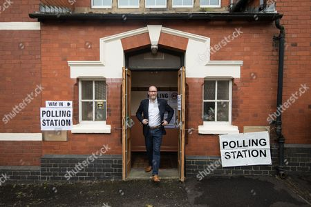 Stock Picture of UKIP leader Paul Nuttall leaves a polling station in Rood Lane Methodist Church after voting in the general election.