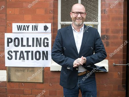 UKIP leader Paul Nuttall outside a polling station in Rood Lane Methodist Church after voting in the general election.