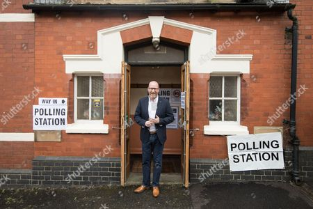 UKIP leader Paul Nuttall leaves a polling station in Rood Lane Methodist Church after voting in the general election.