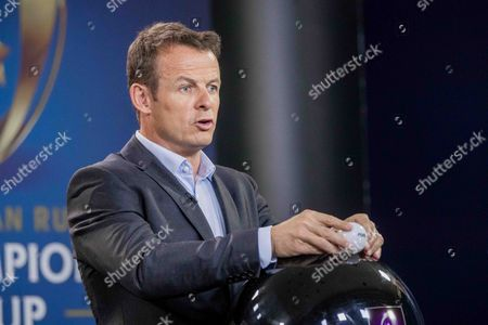 2017-2018 EPCR European Rugby Champions Cup & European Rugby Challenge Cup Pool Draws, Chateau de Neuchâtel, Neuchâtel, Switzerland 8/6/2017. Presenter Austin Healey during the draw